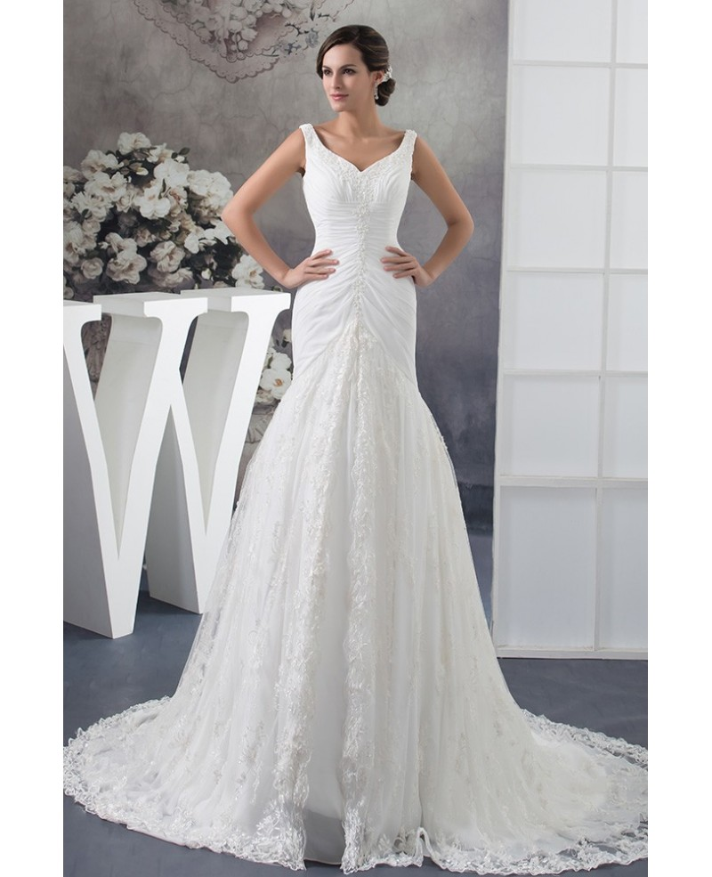 Custom Lace Mermaid Long Fitted Wedding Dress with Pleated Beading