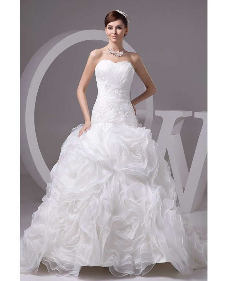 Charming White Organza Beaded Cascading Ruffles Wedding Dress with Train