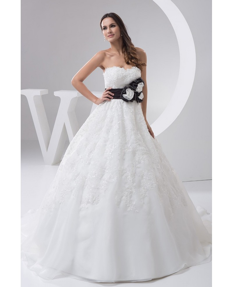 Strapless Beaded Lace Ballgown Wedding Dress with Color Handmade Flower Sash