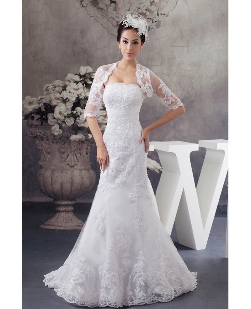 Perfect Fitted Lace Half Sleeve Mermaid Wedding Dress with Jacket