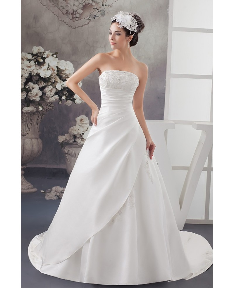 Strapless Lace Pleated Beaded Satin Wedding Dress with Corset Back