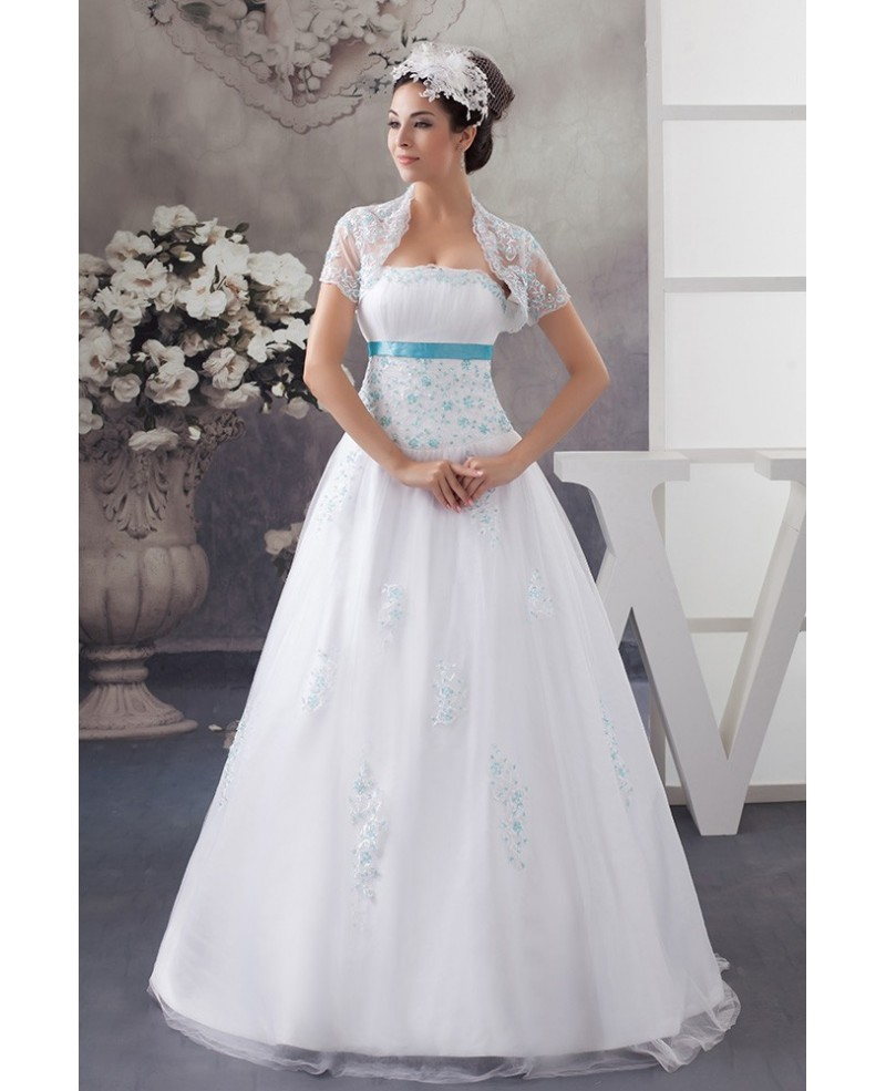 White and Blue Colored Sequins Lace Tulle Wedding Dress with Jacket
