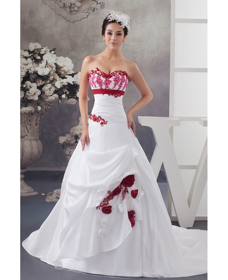White and Red Flowers Taffeta Lace Color Wedding Dress Sweetheart