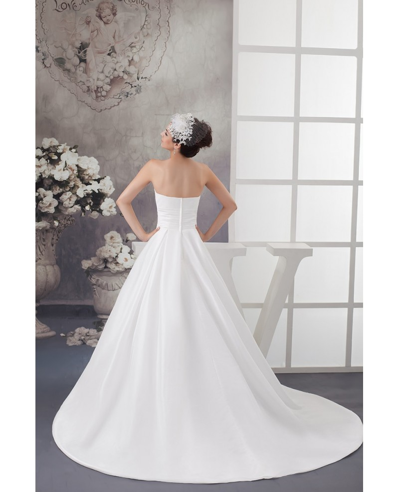Beautiful White A Line Custom Taffeta Wedding Dress with Bling Beading