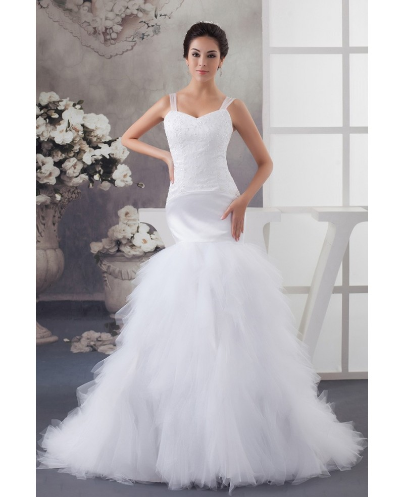 White Straps Mermaid Tulle Wedding Dress with Beading Embroidery