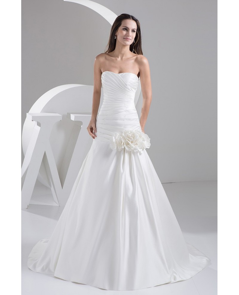 Simple Strapless Pleated Satin Fit and Flare Wedding Dress with Flowers