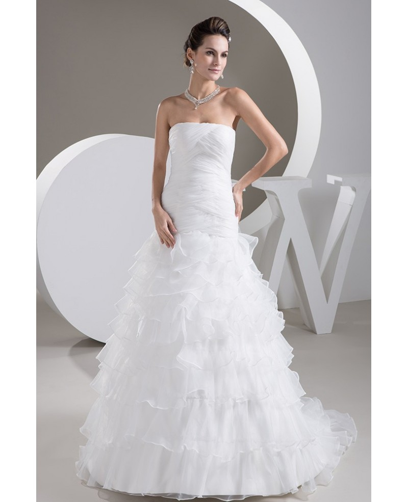 Strapless Cross Pleated Cascading Ruffles Bridal Dress with Little Train