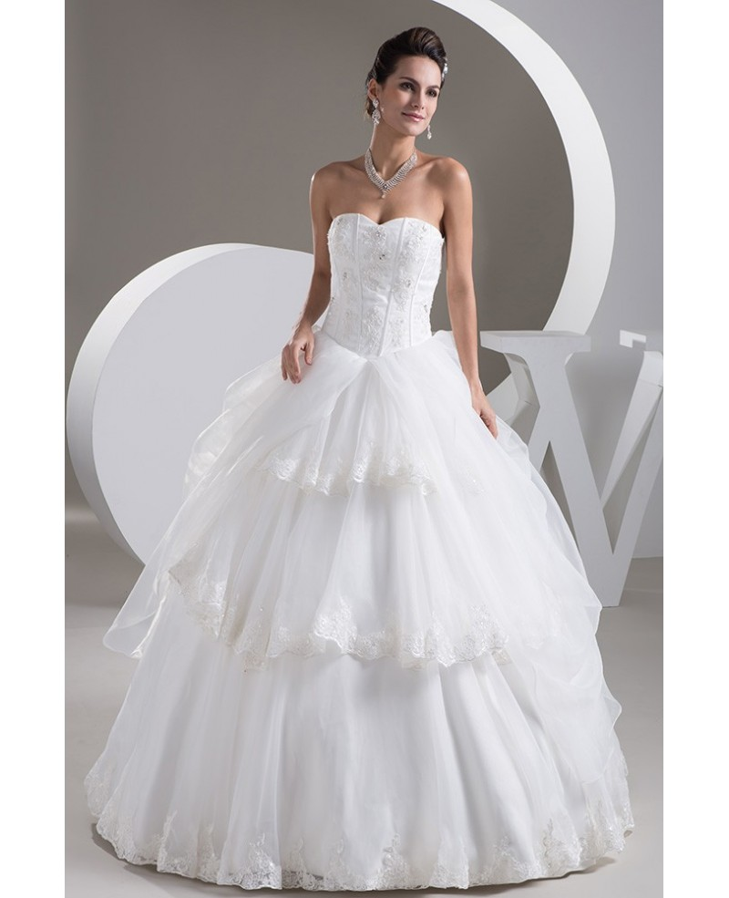 Strapless Sweetheart Ballgown Organza Bridal Dress with Tiered Lace Trims