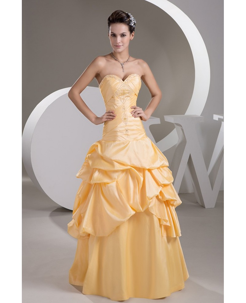 Taffeta Beaded Ruffled Champagne Color Bridal Dress with Sweetheart Neckline