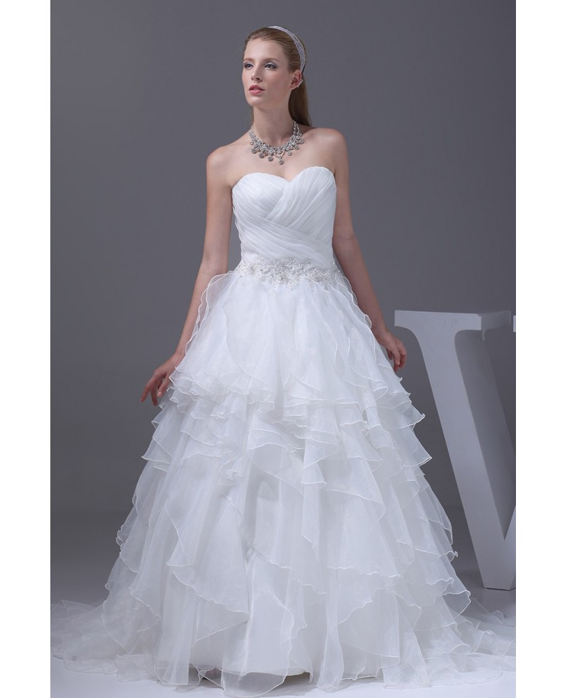 Sweetheart Cascading Ruffles Pleated Wedding Dress with Corset Back