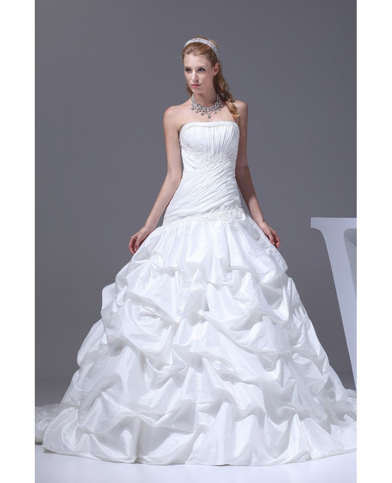 Taffeta White Train Length Pickups Wedding Dress