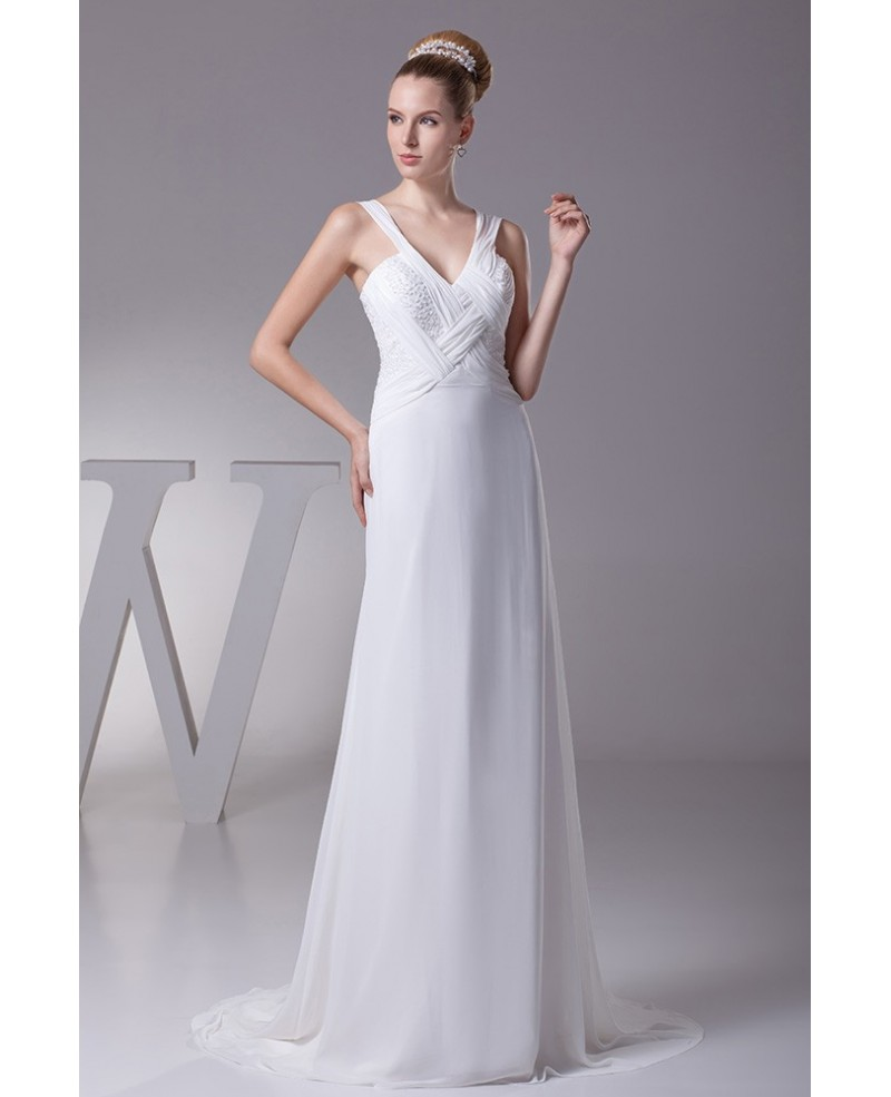 Long Slim Pleated Crossing Beading Wedding Dress with Sweetheart Neckline