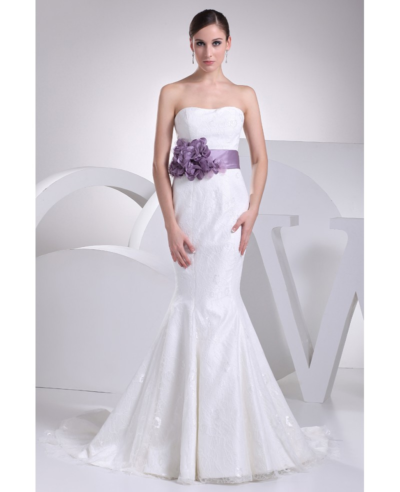 Strapless Mermaid All Lace White Wedding Dress with Purple Floral Sash