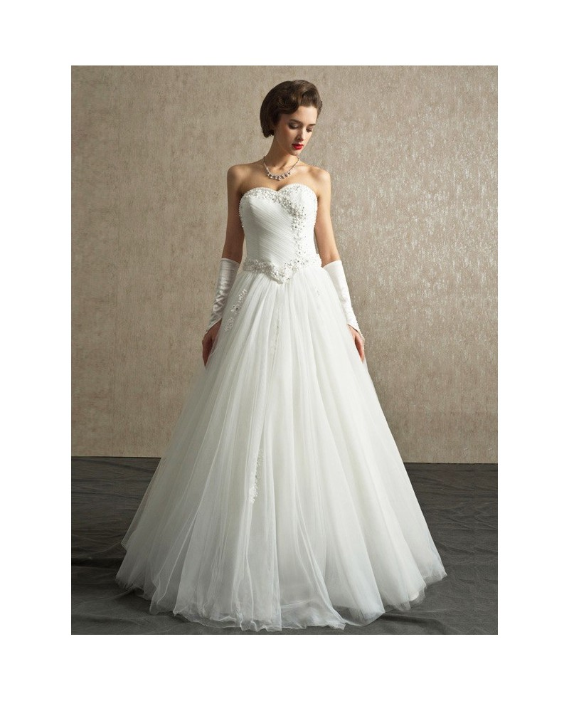 Beautiful A-line Sweetheart Tulle Wedding Dress with Beading