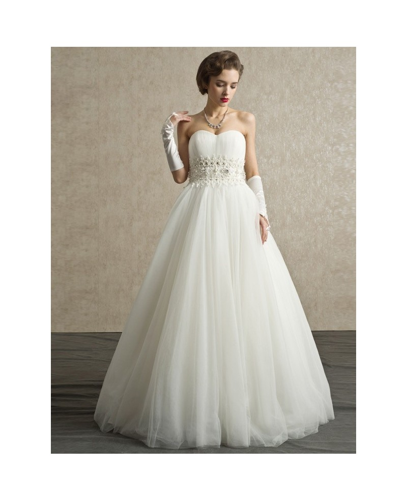 Sweetheart Beaded Pearls Long Tulle Ballgown Wedding Dress