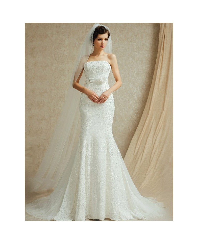 Perfect Fitted Mermaid Strapless Wedding Dress with Beading