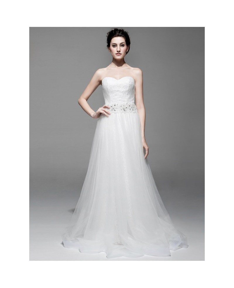 Simple A-line Lace Tulle Beach Wedding Dress Sweetheart