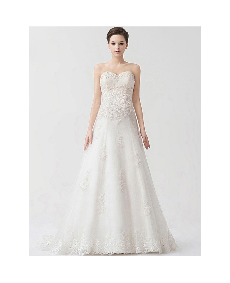Sequined Lace A-line Sweetheart Elegant Wedding Dress
