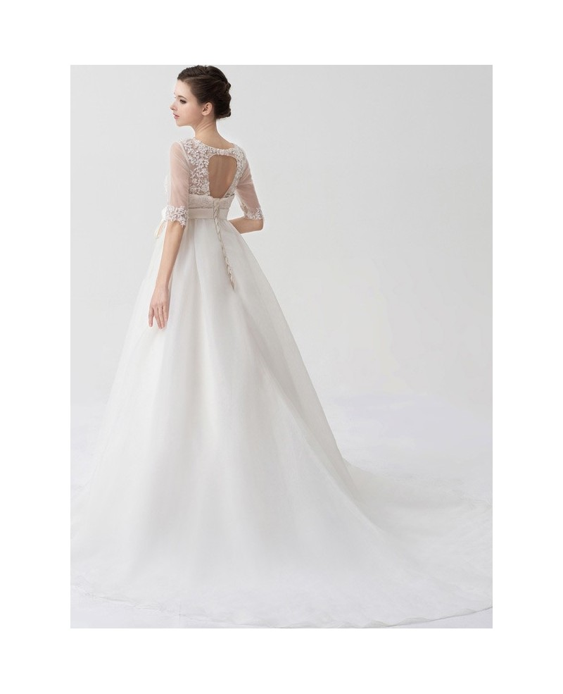 Charming Half Sheer Sleeves Empire Waist Maternity Wedding Dress Lace