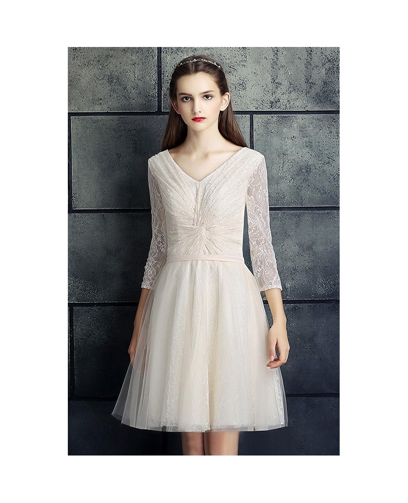 Modest V-neck Three Quarter Lace Sleeve Short Bridal Party Dress
