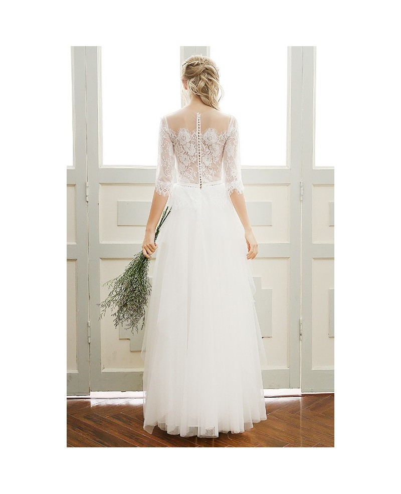 A-line Scoop Neck Floor-length Tulle Boho Wedding Dress With Sleeves