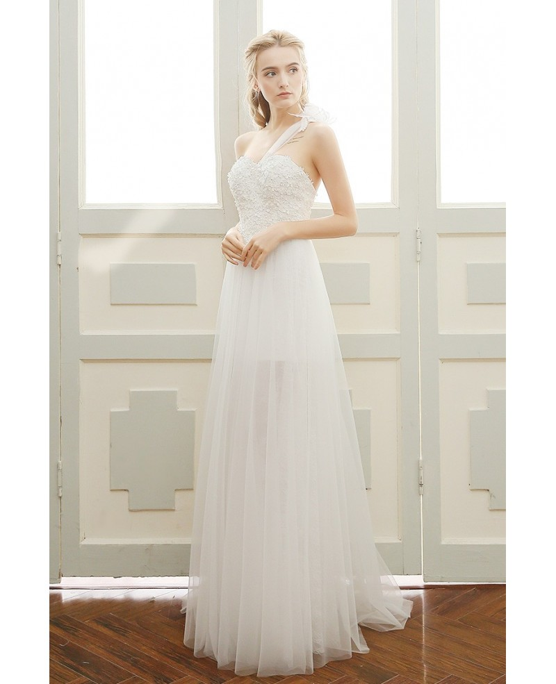 Goddess A-line One-shoulder Floor-length Tulle Beach Wedding Dress With Appliques Lace