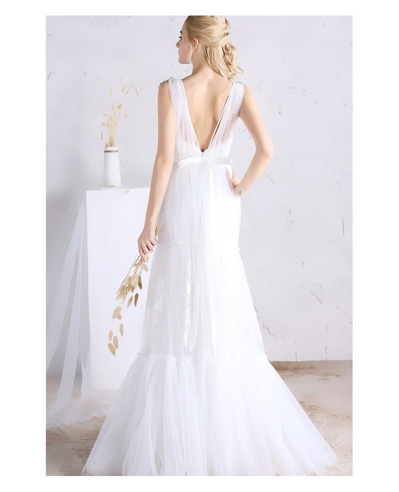 Sexy A-line Deep V-neck Floor-length Tulle Wedding Dress With Open Back