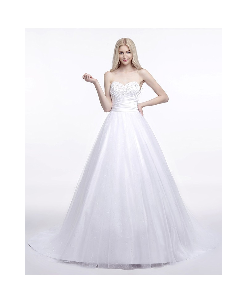 Ball-Gown Sweetheart Sweep Train Satin Wedding Dress With Ruffles Beading