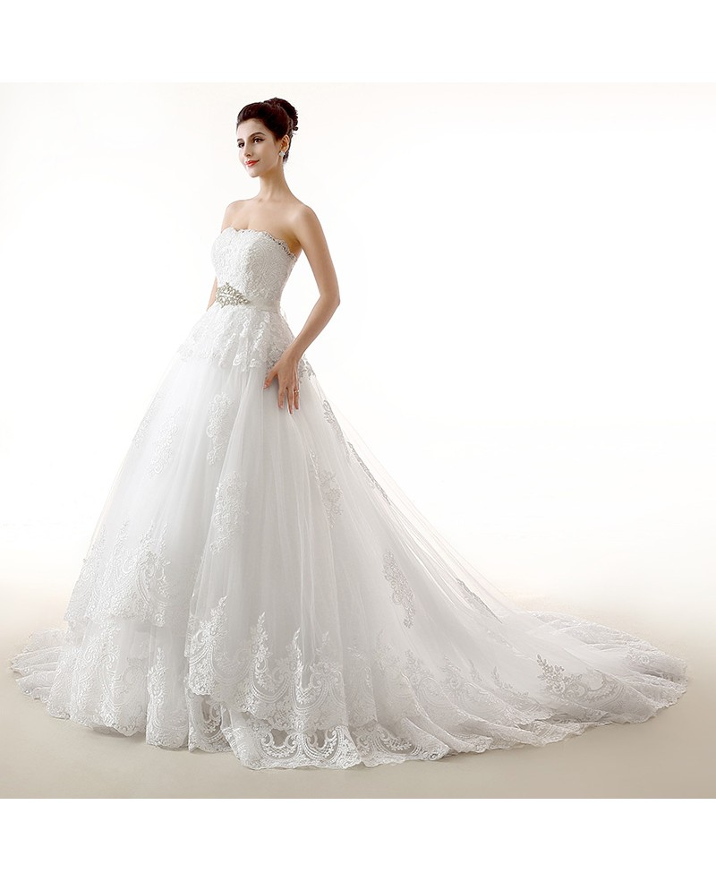 Ball-Gown Sweetheart Chapel Train Tulle Wedding Dress With Appliques Lace Beading