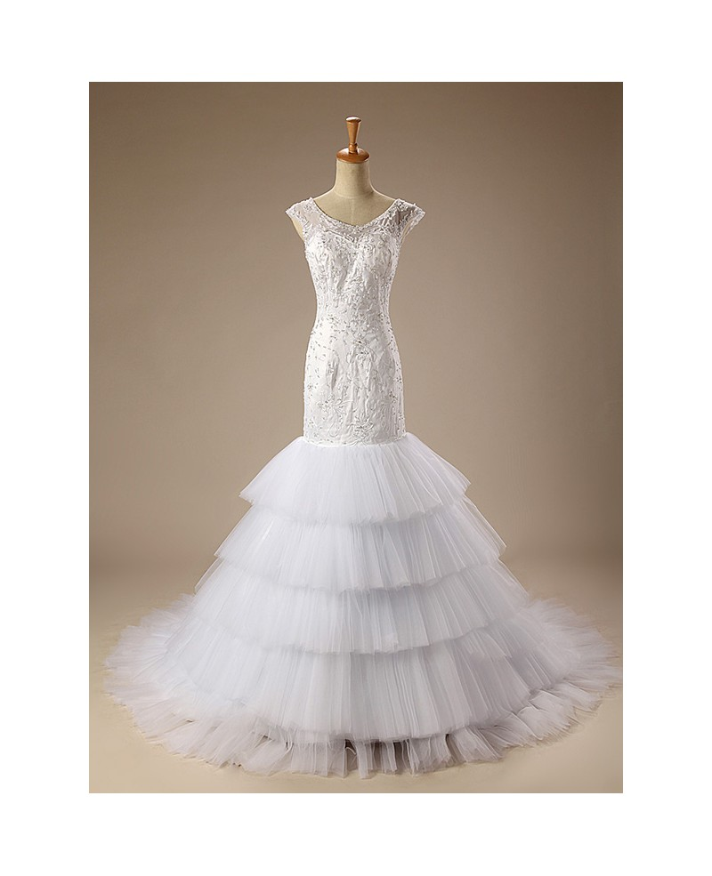 Mermaid Scoop Neck Court Train Tulle Wedding Dress With Ruffles Appliques Lace