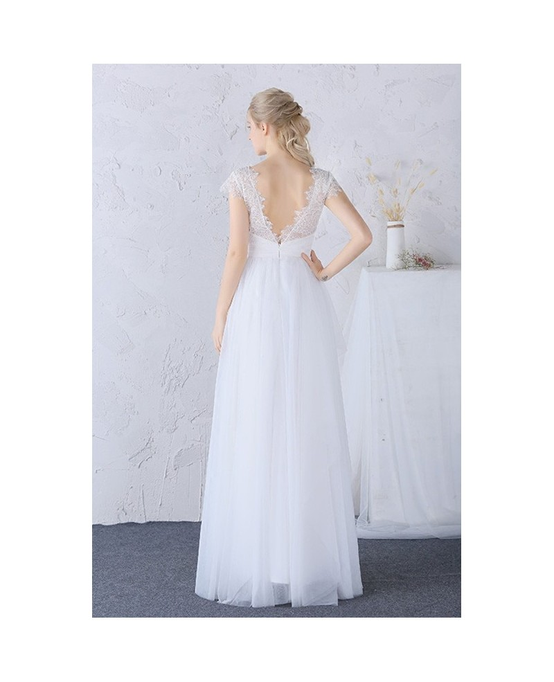 Modest High Lace Neckline Long Tulle Boho Wedding Dress Cap Sleeves
