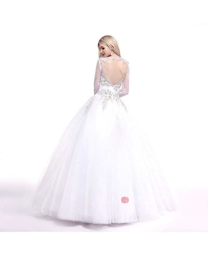 Ball-Gown V-neck Sweep Train Tulle Wedding Dress With Beading