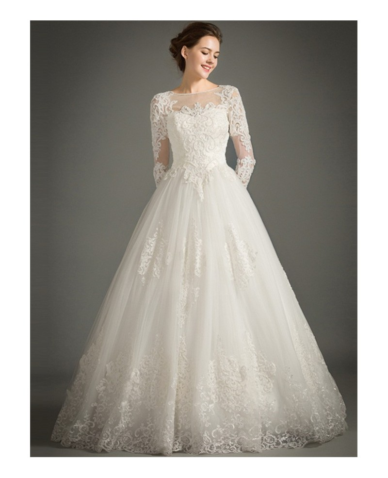 Classic A-Line High-neck Floor-length Tulle Wedding Dress With Appliques Lace