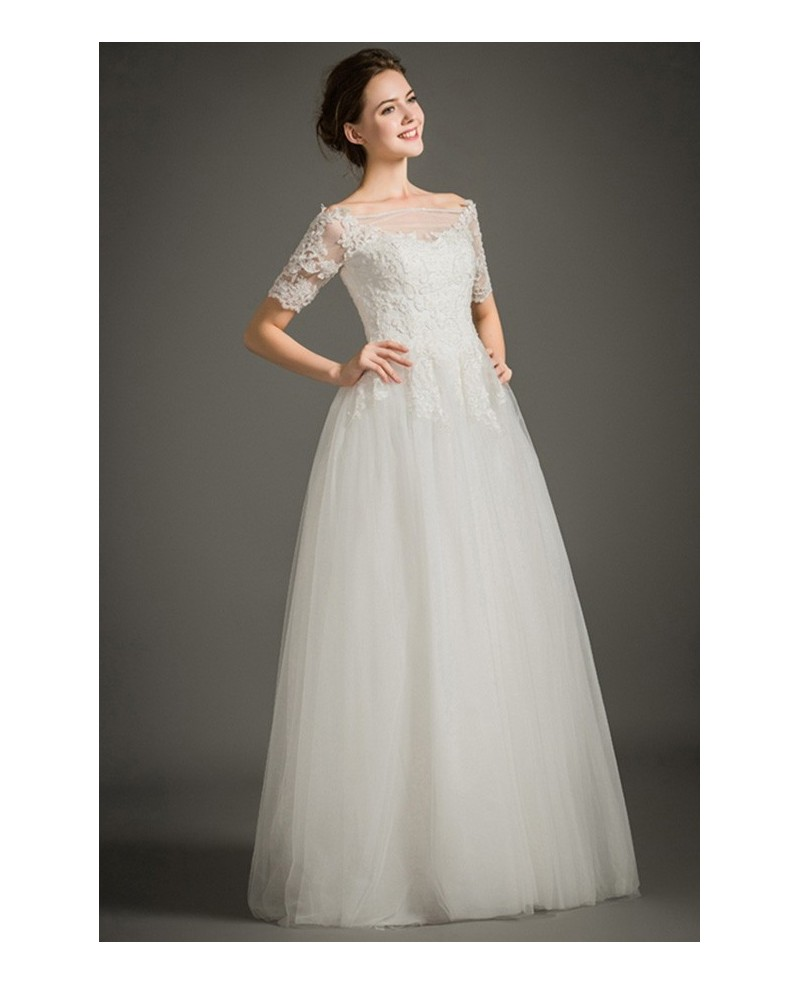 Modest A-Line Off-the-shoulder Floor-length Lace Tulle Wedding Dress With Short Sleeves
