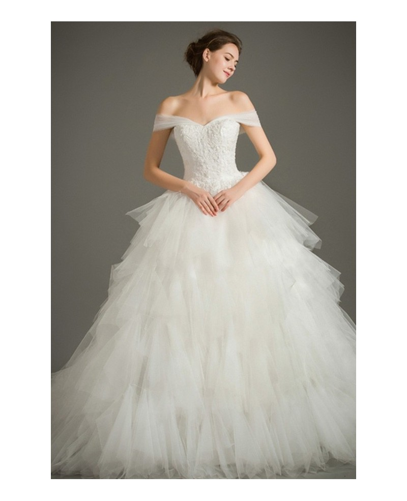 Dreamy Ball-gown Off-the-Shoulder Chapel Train Tulle Wedding Dress With Cascading Ruffle
