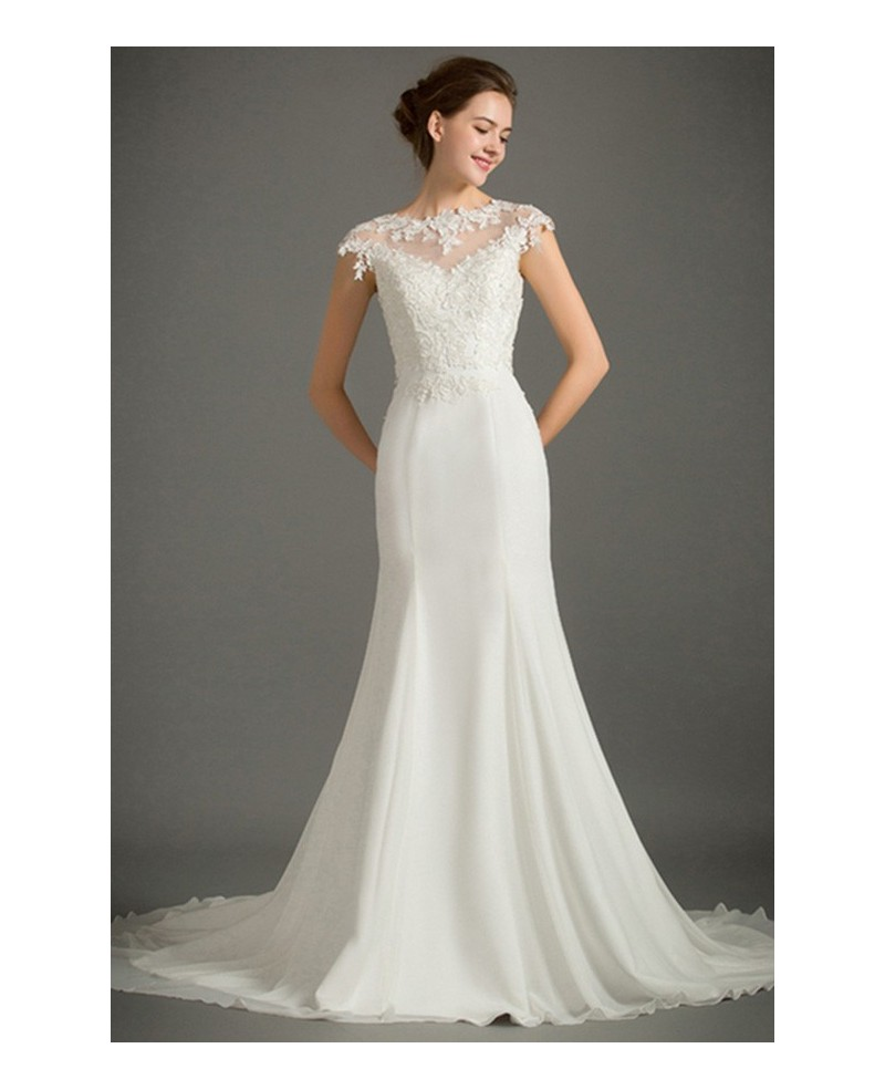 Feminine Mermaid High-neck Sweep Train Satin Wedding Dress With Cap Sleeve