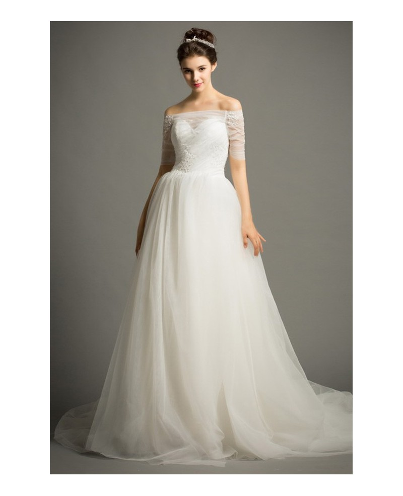 Dreamy Ball-gown Off-the-Shoulder Chapel Train Tulle Wedding Dress With Beading