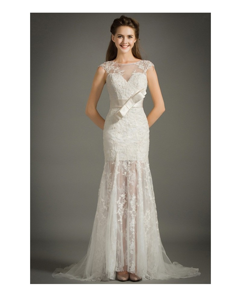 Feminine Mermaid High Neck Sweep Train Lace Tulle Wedding Dress With Cap Sleeves