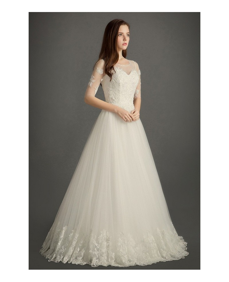 Modest A-line Scoop Neck Floor-length Tulle Wedding Dress With Appliques Lace