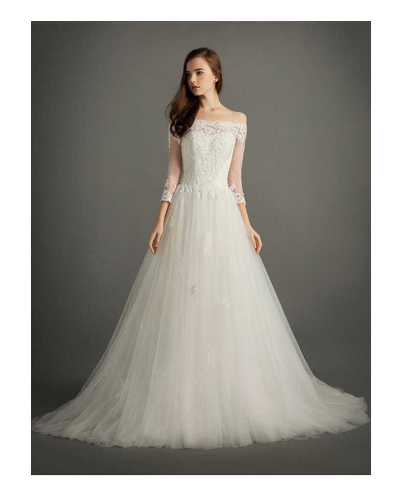 Elegant Ball-gown Off-the-shoulder Court Train Tulle Wedding Dress With Sleeves