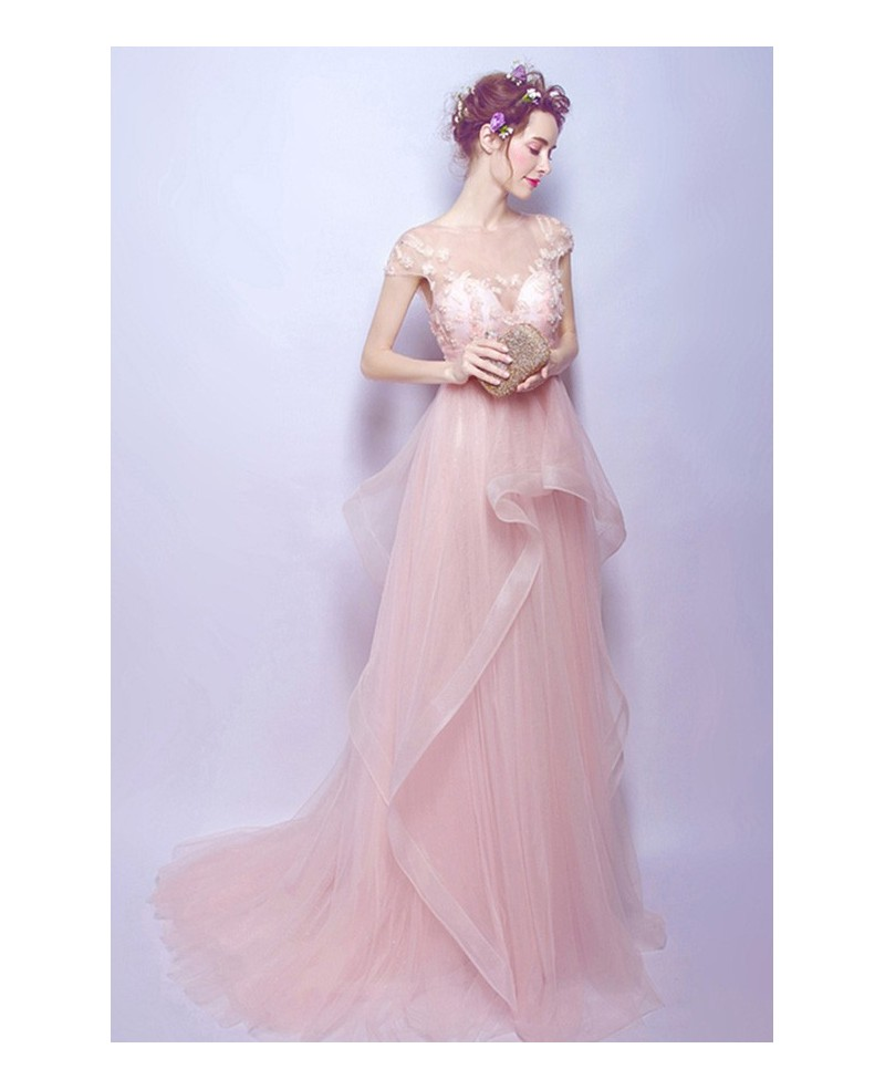 Blush A-line Scoop Neck Sweep Train Tulle Wedding Dress With Beading