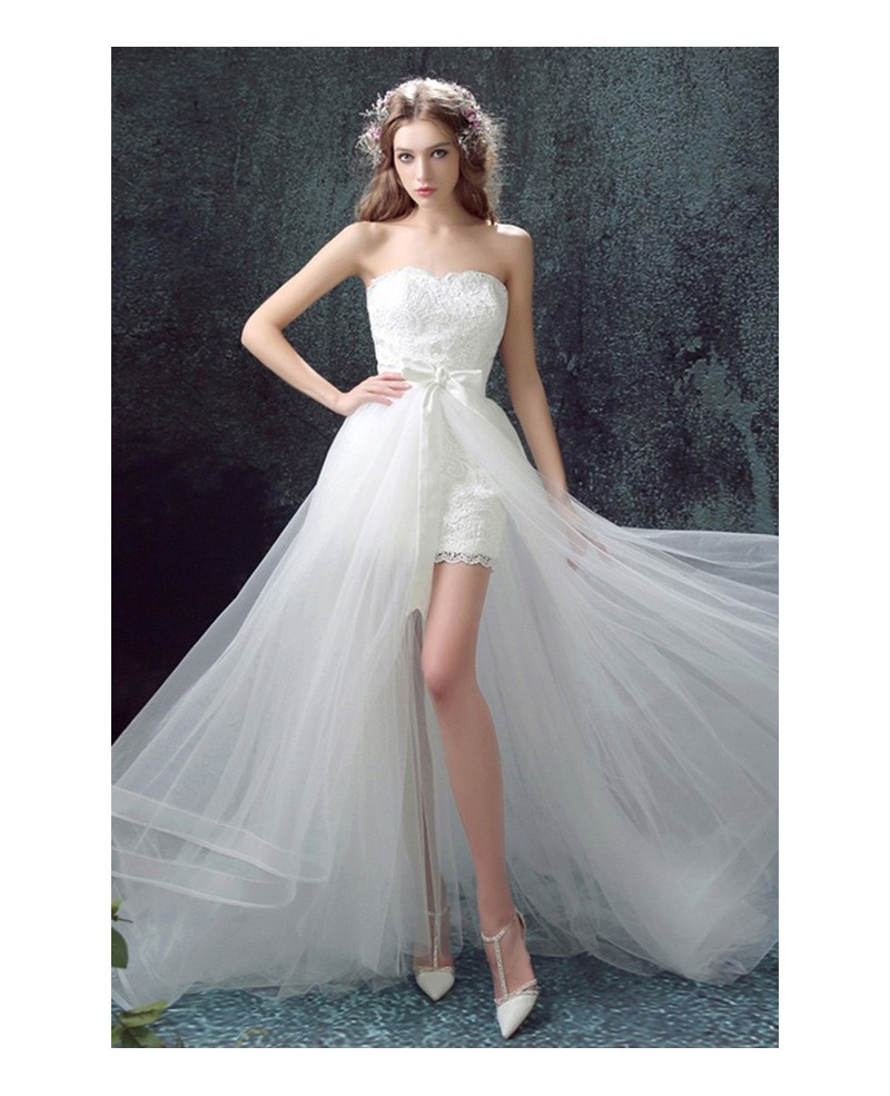 Unique High Low Sweetheart Tulle Wedding Dress With Lace
