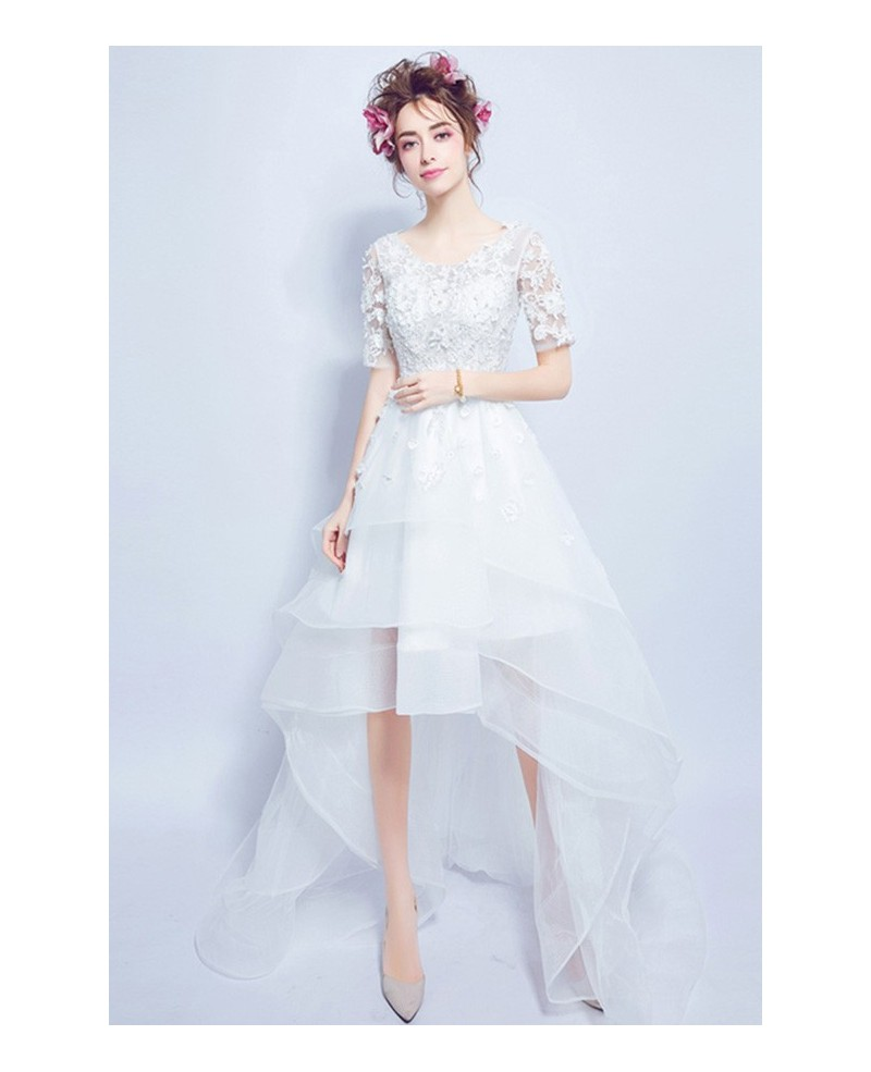 Special High Low Scoop Neck Tulle Wedding Dress With Short Sleeves