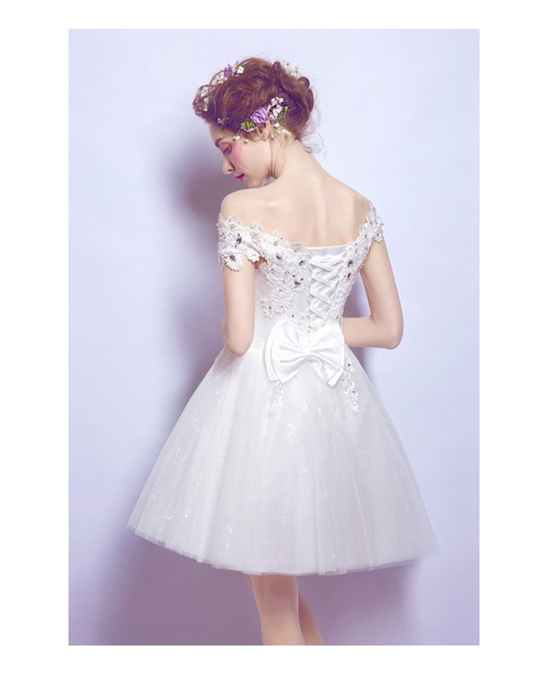 Sweet A-line Off-the-shoulder Short Tulle Wedding Dress With Beading