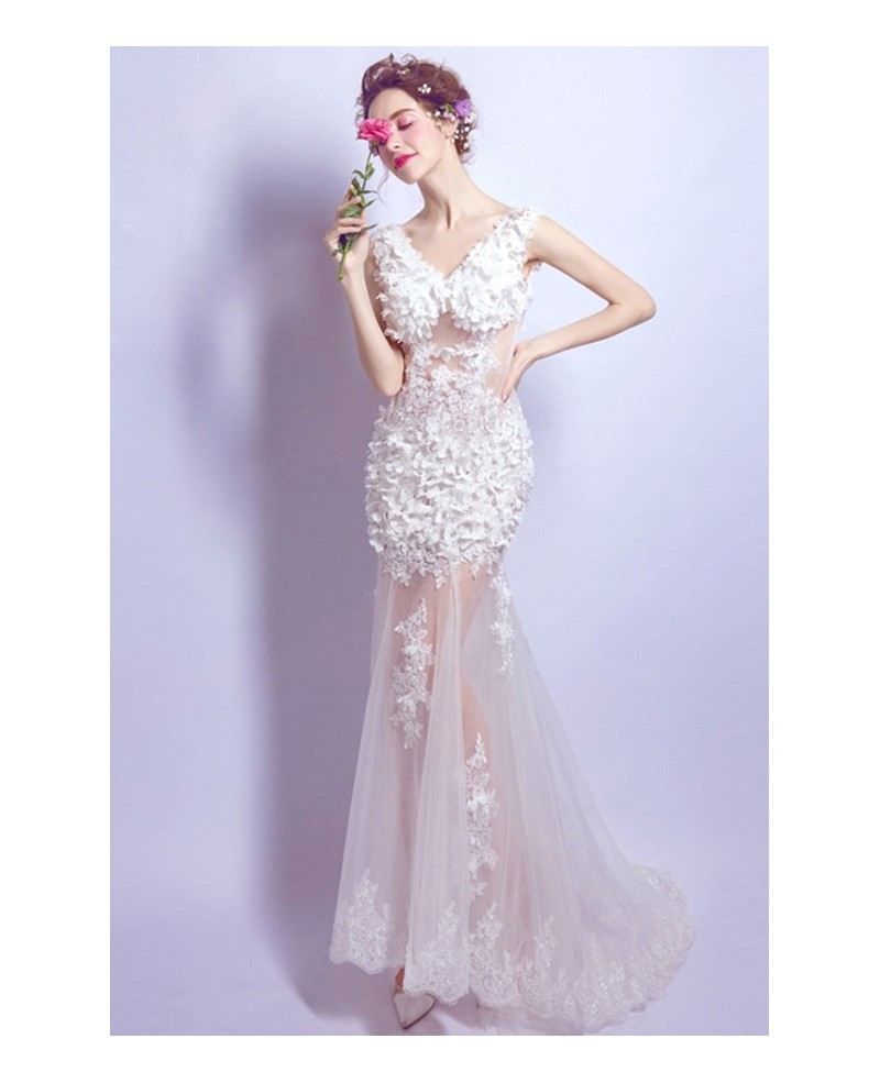 Sexy Mermaid V-neck Sweep Train Tulle Wedding Dress With Flowers