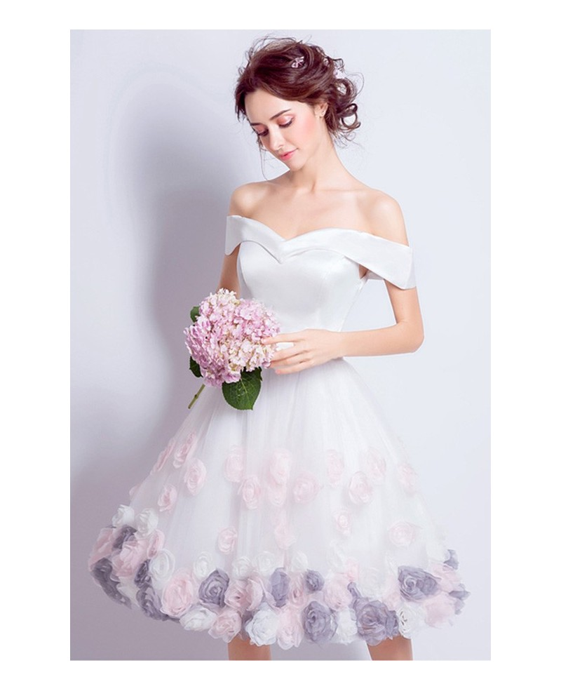 Lovely A-line Off-the-shoulder Knee-length Satin Wedding Dress With Flowers