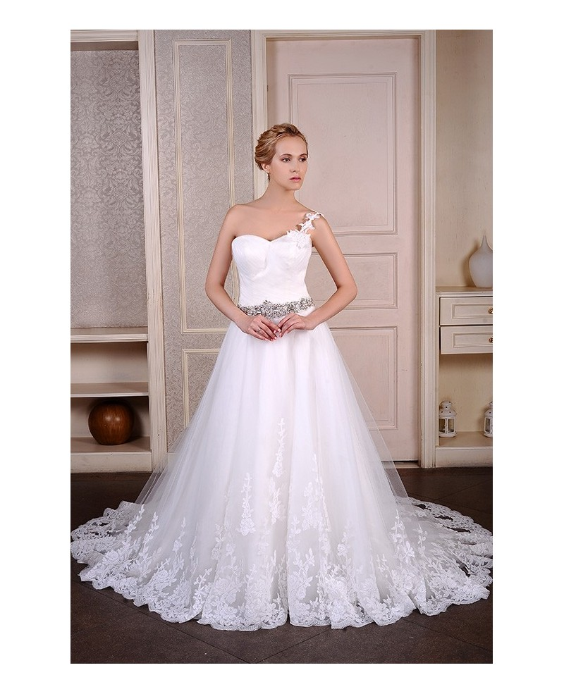 Ball-Gown One Shoulder Chapel Train Tulle Wedding Dress With Beading Appliques Lace