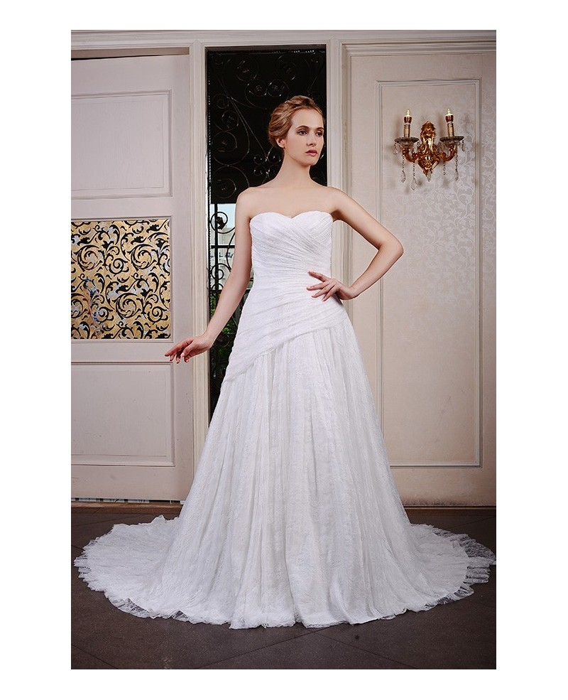 Ball-Gown Sweetheart Chapel Train Lace Wedding Dress With Pleated