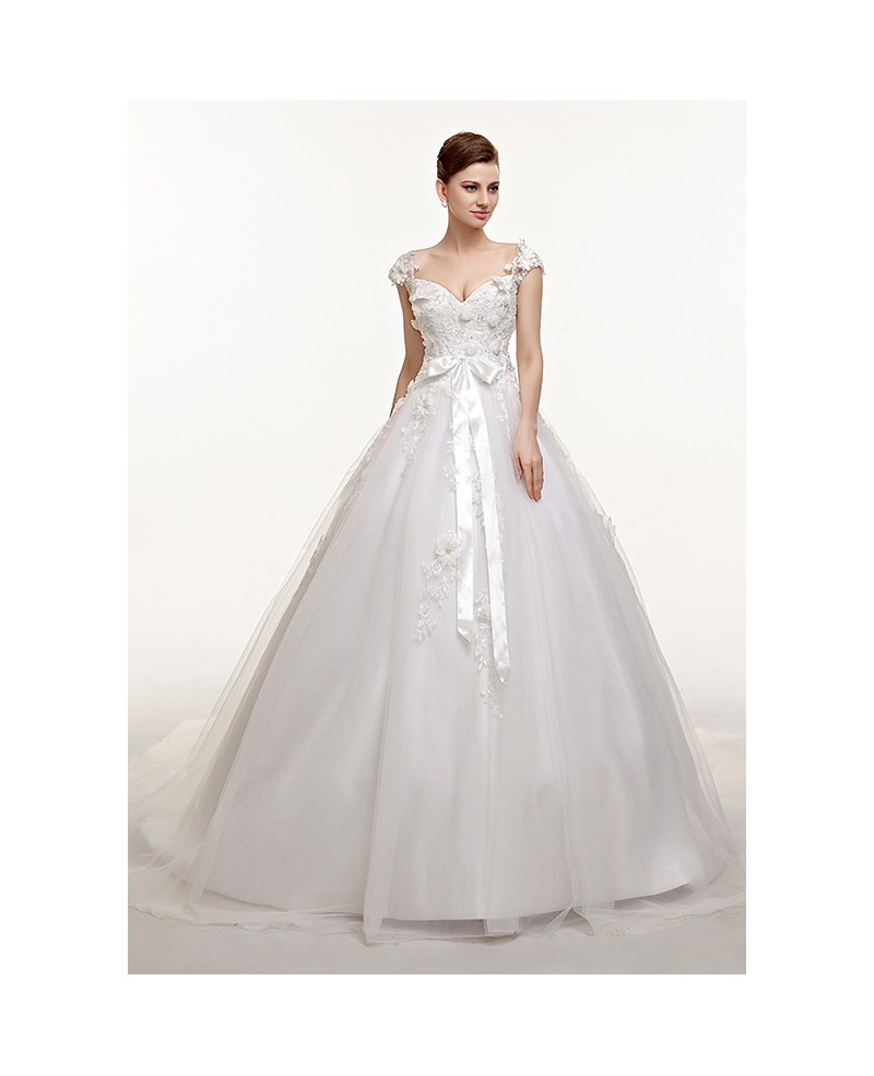 Lace Cap Sleeves Long Train Ballgown Wedding Dress with Bow Sash
