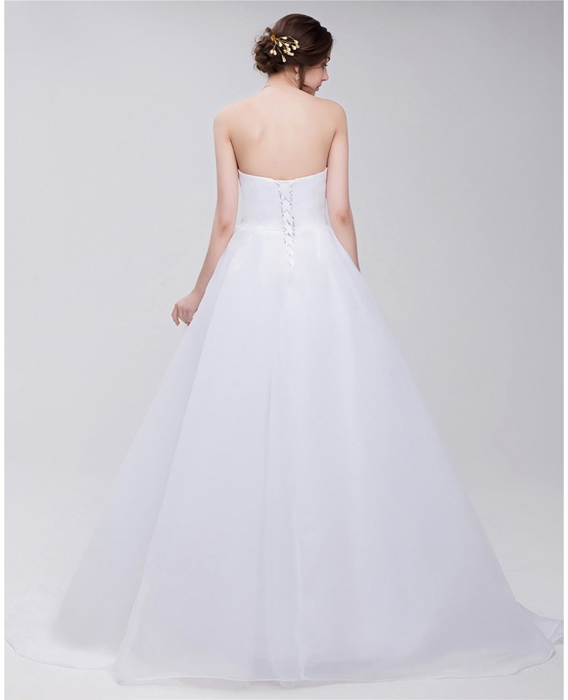 Big Bow Front Empire Waist Long Tulle Wedding Dress